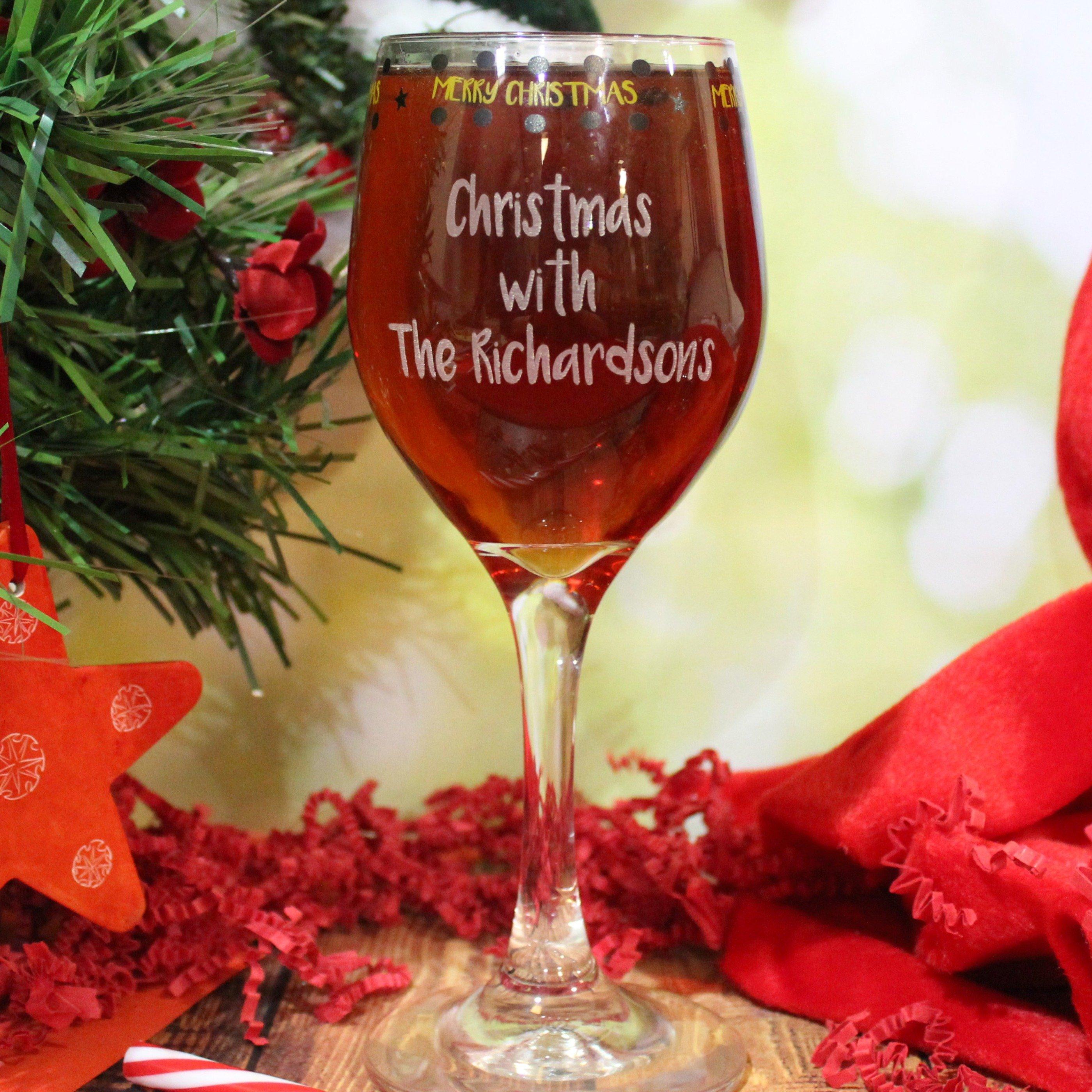 Christmas Wine.Merry Christmas Wine Glass