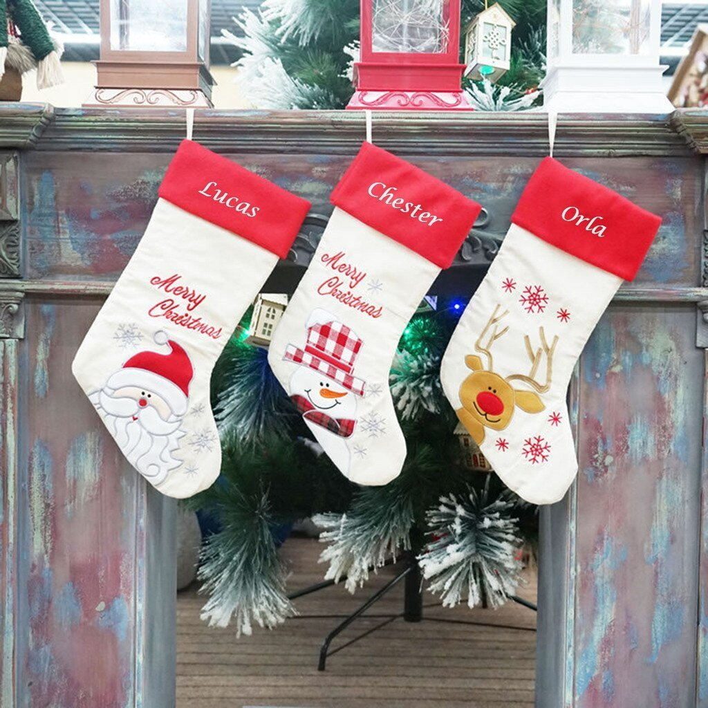 Embroidered Christmas Stockings.Personalised Embroidered Christmas Stocking Character Design