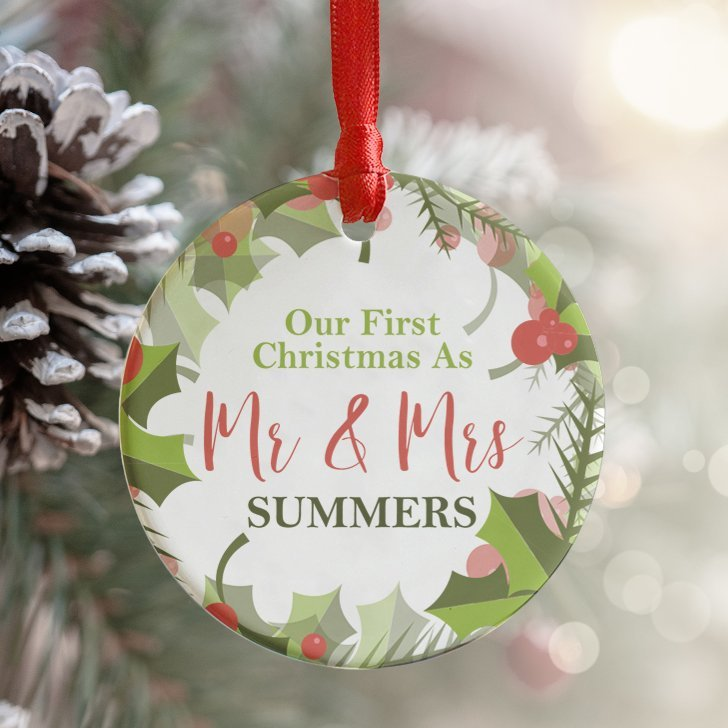 mr mrs personalised bauble